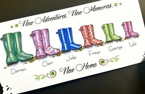 Handmade Personalised 'Wellies'  New Home card (up to 6 names inc.pets)