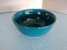 Longaberger Pottery Soup Salad bowl 16 oz in Teal Woven Traditions NEW in box