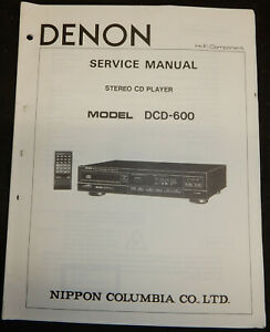 DENON DCD - 600. DCD600 CD PLAYER MANUFACTURERS SERVICE MANUAL