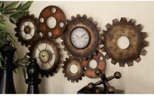 Wall Clock Industrial-themed Gearwheel 17 in. x 34 in. Double Clockface Design