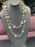 "Vintage Bohemian 24"" 2 Strand Mother of pearl Blister shell Pearl Natural White"