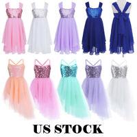 US Girls Lyrical Dance Dress Kid Ballet Leotard Sequins Modern Dancewear Costume