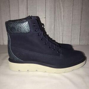 New Timberland Evening Blue Nubuck Snakeskin Boots Women's Size 7 Sample RARE