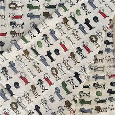 50x150cm Cotton Linen Fabric DIY Craft Material Colorful Cat & Fish Bone F94 G&