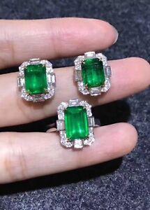 Jewellery Set, Natural Emerald Ring, Natural Emerald Earrings, Emerald Jewelry