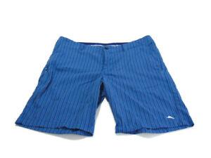 Tommy Bahama Shorts Blue Navy Stripe Flat Front Stretch Side Pockets Mens 34