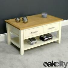 Nebraska Painted Oak Coffee Table With 1 Large Drawer & Shelf / Cream Storage