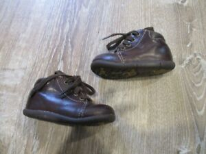 Stride Rite Baby Boy Elliot Leather Lace Up Ankle High Boots, Brown, Size 5.0