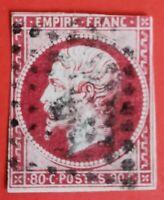 FRANCE EMPIRE N° 17A  80c carmin foncé(b) (TB-783-7) OBLITER. LOSANGE BE