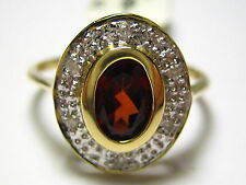 New 14k Solid White Gold Y/G Ring Natural Garnet With Diamond, SZ-7, NWT