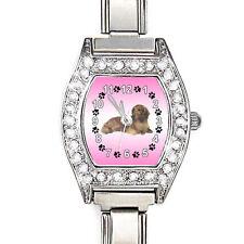 Long Haired Dachshund Dog CZ Ladies Shiny Italian Charms Bracelet Watch BJ1065
