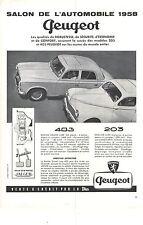 PUBLICITE ADVERTISING  1958   SALON DE L'AUTOMOBILE   les Peugeot 403 & 203