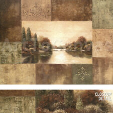 """40""""x30"""" MODULATE II by BETSY BROWN ART DECO LANDSCAPE COLLAGE EARTHTONES CANVAS"""