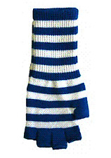 78009 Blue & White Fingerless Ladies Gloves - Adorable, Affordable Cute Punk
