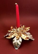 Dept 56 Poinsettia Design Gold and Silver Taper Candle Holder