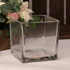 Square 14cm Glass Cube Table Vase wedding table flowers plants heavy Glassware