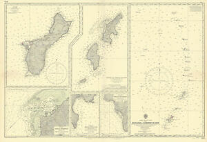 Mariana Islands. Guam Saipan Tinian. ADMIRALTY sea chart 1953 (1955) old map