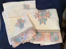 R A Briggs Southwest Western Decor Towel Set 3 pc Pink Green Pleated Border