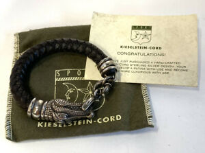 Large Vintage Barry Kieselstein Cord Sterling Silver Leather Alligator Bracelet