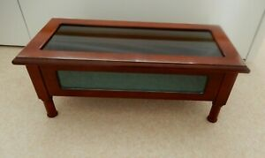 Countertop, Wooden Curio Display Cabinet, with Glass panel &Open-up Glassed Top