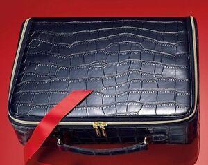 2pc Large Estee Lauder Dark Ink Blue Croc Makeup Train Case with Gold Croc Purse