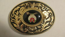 Vintage new old stock Gold & black LRG oval Belt Buckle oval SHRINER emblem blk