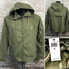 Polo Ralph Lauren Basic Olive Green Military Jacket Hooded  Sz XL