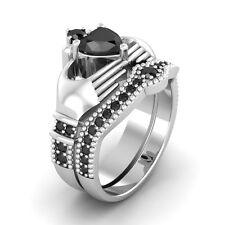Certified 2.60Ct Black Diamond Heart Shape Engagement Ring in 14K White Gold