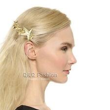 Catwalk Gold Textured 3D Shooting Star Hair Pin Clip Dress Snap Barrette Comb