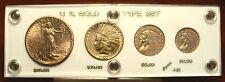4pc US Gold Coin Type Set: $20+$10+$5+$2.5 Indian Saint St Gaudens Eagle Quarter
