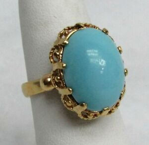 EXCEPTIONAL 18K GOLD & 12ct ARABIAN TURQUOISE RING SIZE 6