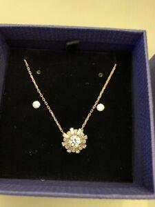 New Swarovski Sunshine Pendant & Earrings Set Rose Gold 5480468 Valentine's Day
