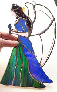 Large Peacock Guardian Angel blue green stained glass suncatcher butterfly gift