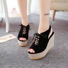 Women Platform Wedge High Heels Peep Toe Lace Up Slingbacks Sandals Casual Shoes