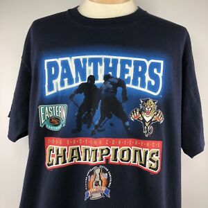 NHL FL Panthers 1996 Eastern Conference Champions Shirt XL Blue Short Sleeve