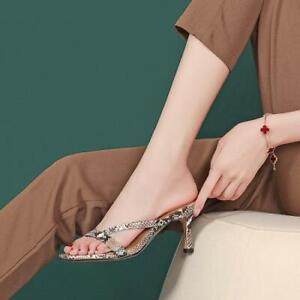 Womens 2021 New Summer Fashion Leather High Heel Slipper Thong Sandals Shoes SUN