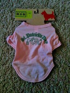"""OLD NAVY DOG SUPPLY 100% Pink/Green St Patrick's Day 2009 Tee  XS(9""""-10"""") NEW"""