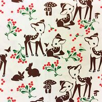 RPFMM113 Deer Fawn Berries Forest Mushroom Bambi Bunny Cotton Quilt Fabric