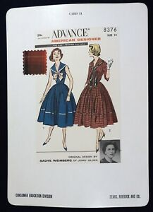 Vtg 1950s Sears Store Display Sewing Pattern Advertising CARD Advance 8376