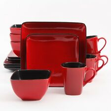 Red 16-Piece Stoneware Dinnerware Set Square Dinner Plates Dishes, Service For 4