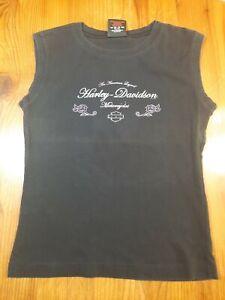 Harley-Davidson Women's Black Tank Top - Size Medium - 100% Cotton - Las Vegas