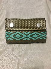 Mexican Woven Plastic Clutch Bag Handbag NWOT Handmade Gold Turquoise Teal
