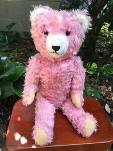 "Antique German Petz Pink Mohair Anton Kiesewetter 18"" Straw Rare 1920's"