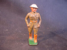 Old Vtg Cast Iron Toy Military Soldier Man W/Helmet Train Garden Figure