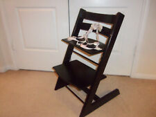 STOKKE Tripp Trapp Baby Toddler Black Wood High Chair w/ 5 POINT HARNESS