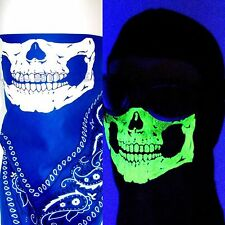 BLUE PAISLEY GLOW IN THE DARK SKULL FACE NECK MASK SCARF WIND DUST COVER BANDANA