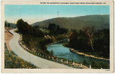 1928 Scene on Roosevelt Highway and Pine Creek near Wellsboro PA Old WB Postcard