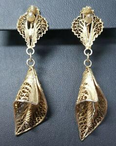Ohrringe earrings 925 Sterling SILBER vergoldet Art Deco Ohrstecker filigran
