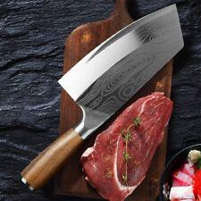 Kochmesser Küchenmesser Damaskus Muster Edelstahl Hackfleisch Fleischbeil