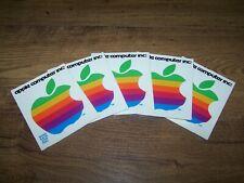 Vtg.1970's (5) Apple Computers Inc. Unused Advertisement Rainbow Color Stickers
